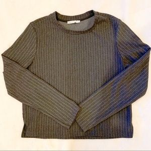 Zara Women Gray Striped Long Sleeve Top Size L